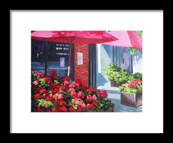Cafe Framed Print featuring the painting Cafe In Red by Maralyn Miller
