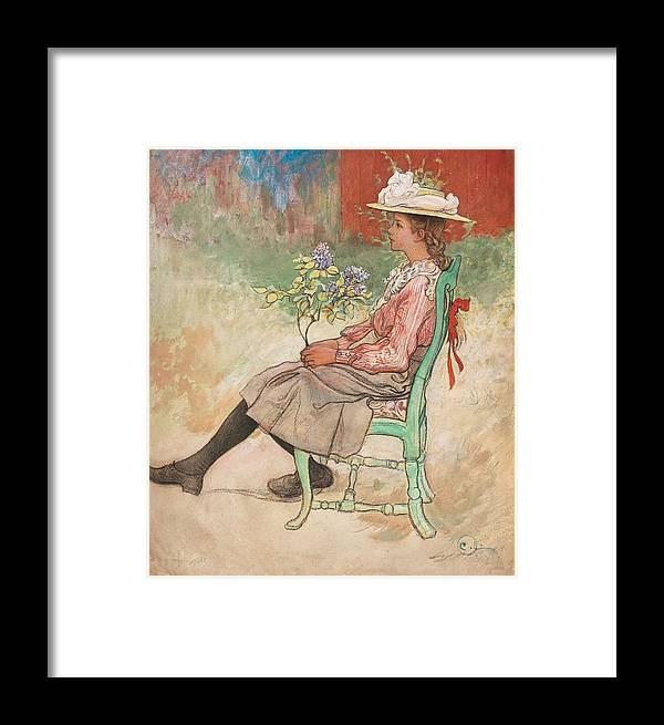 Girl Framed Print featuring the painting Carl Larsson, Dagmar Grill by Carl Larsson