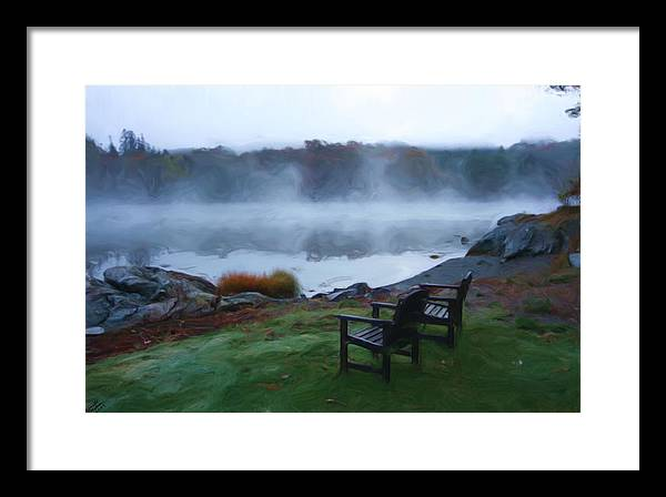 Chairs Framed Print featuring the painting 2 Chairs By Ocean With Sea Smoke by Ingrid Small