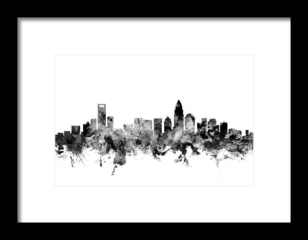 United States Framed Print featuring the digital art Charlotte North Carolina Skyline by Michael Tompsett