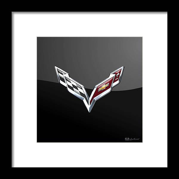 �wheels Of Fortune� Collection By Serge Averbukh Framed Print featuring the photograph Chevrolet Corvette 3D Badge on Black by Serge Averbukh