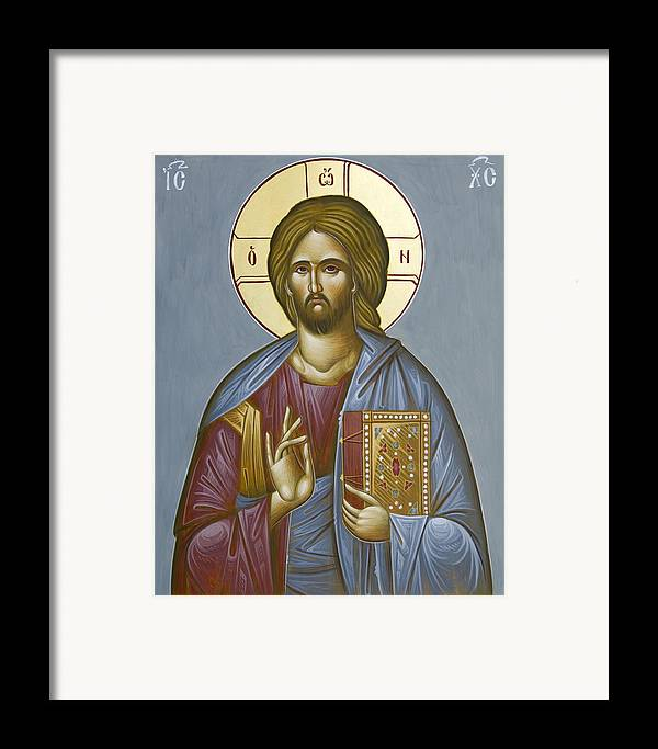 Icon Framed Print featuring the painting Christ Pantokrator by Julia Bridget Hayes
