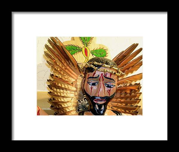 Chicano Art Framed Print featuring the mixed media Christo Crucificado by George Chacon