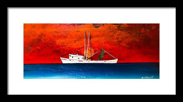 Clyde Phillips Boat Framed Print featuring the painting Clyde Phillips At Sea by Barry Knauff