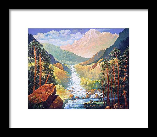 Colorado Mountains Bears Falls Snow Western Southwestern Landscapes Giclee Prints Stream Rocks Bears Framed Print featuring the painting Colorado Spring by Donn Kay