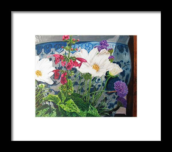 Flowers Framed Print featuring the painting Cosmos by Karen Ilari