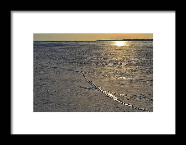 Abstract Framed Print featuring the photograph Cracks In The Ice by Lyle Crump