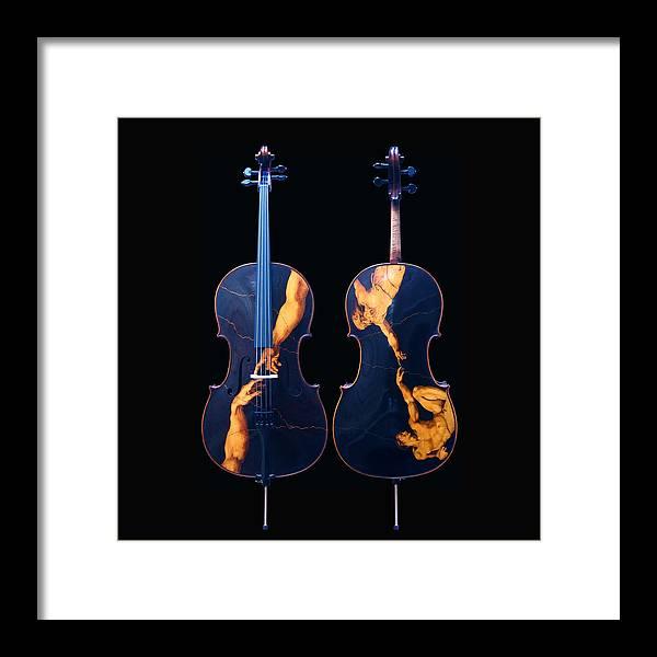 Dino Muradian Framed Print featuring the pyrography Custom Gliga Cello by Dino Muradian