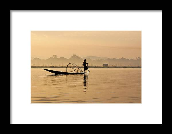 Asia Framed Print featuring the photograph Dawn On Inle Lake by Michele Burgess