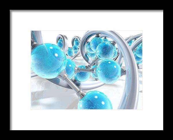 Deoxyribonucleic Acid Framed Print featuring the photograph Dna Molecules, Artwork by David Mack