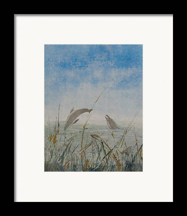 Dolphin Framed Print featuring the painting Dolphin Frolic by Libby Cagle