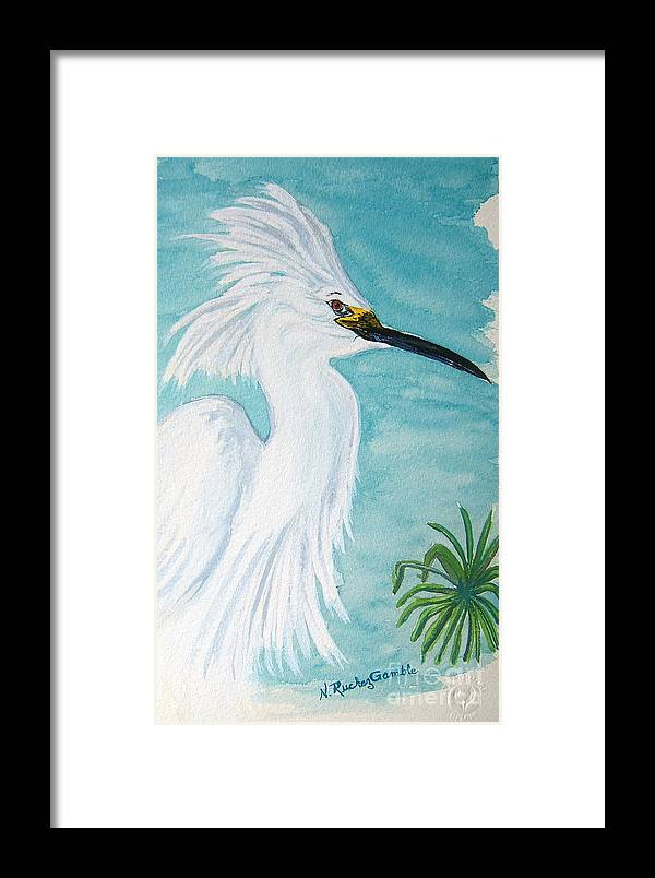 Wading Bird Framed Print featuring the painting Egret by Nancy Rucker