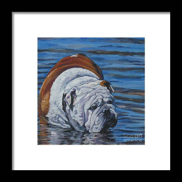 English Bulldog Framed Print featuring the painting English Bulldog by Lee Ann Shepard