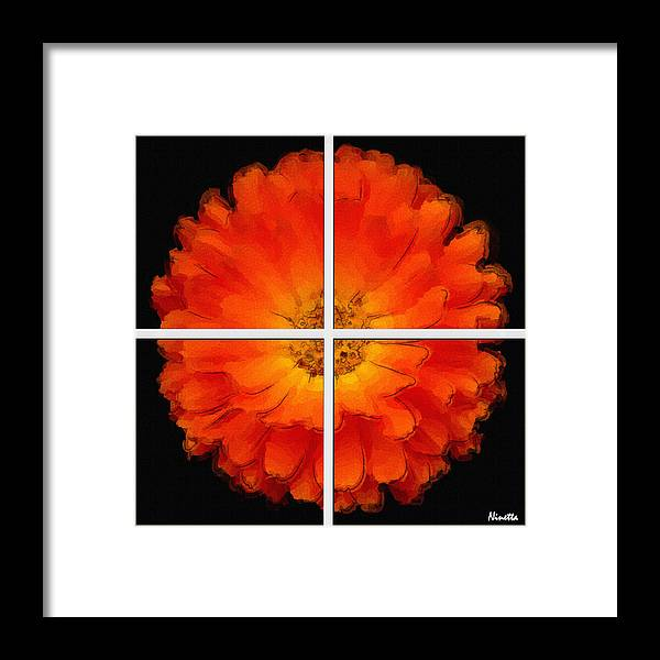Flower In Poster Framed Print featuring the digital art 2. Enthusiasm  Artwork In Poster by Andrea N Hernandez