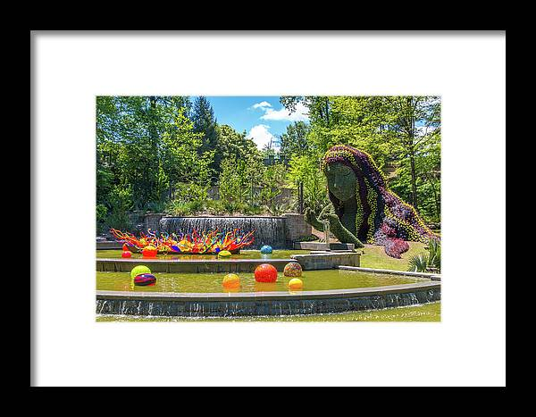 Atlanta Framed Print featuring the photograph Chihuly Exhibition In The Atlanta Botanical Garden. #02 by Irina Moskalev