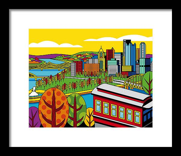 Pittsburgh Framed Print featuring the digital art Fall From Above by Ron Magnes