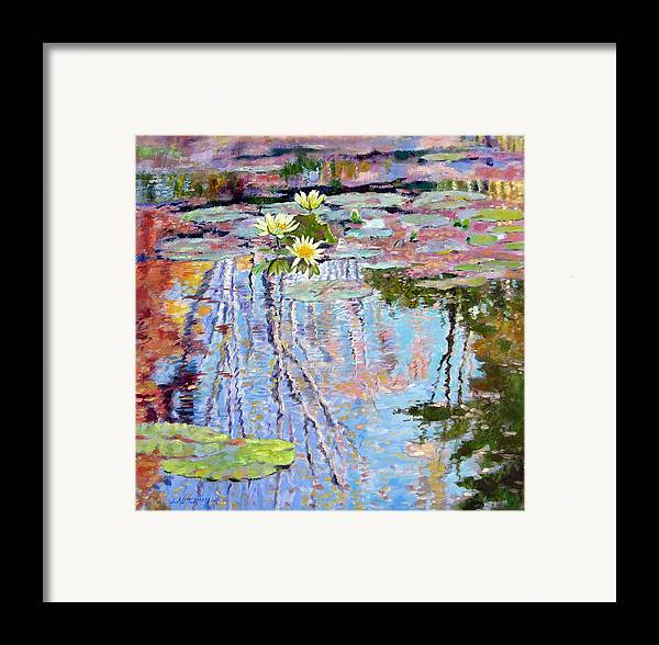 Garden Pond Framed Print featuring the painting Fall Reflections by John Lautermilch