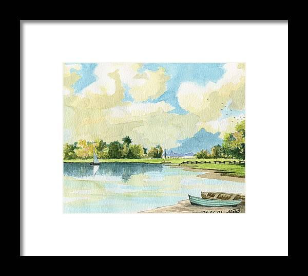 Lake Framed Print featuring the painting Fishing Lake by Alban Dizdari