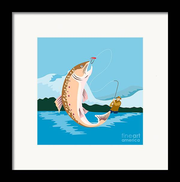 Fly Fisherman Framed Print featuring the digital art Fly Fisherman Catching Trout by Aloysius Patrimonio
