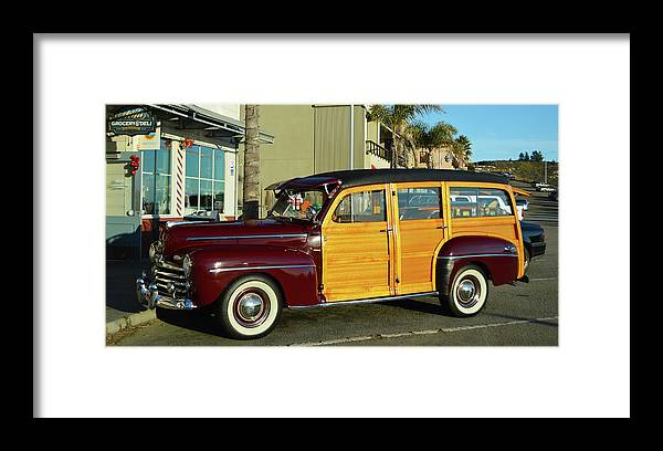1948 Ford Woody Framed Print featuring the photograph Ford California Woody Station Wagon by Barbara Snyder