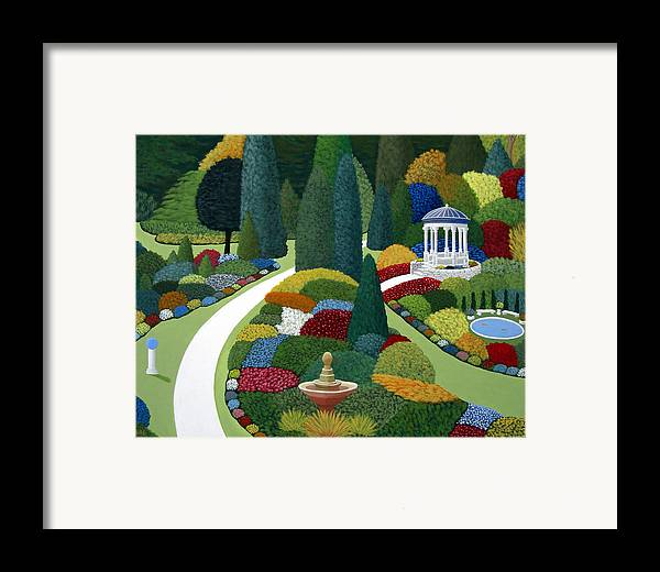 Landscape Paintings Framed Print featuring the painting Formal Gardens by Frederic Kohli