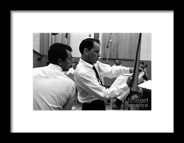 Frank Sinatra Framed Print featuring the photograph Frank Sinatra And Dean Martin At Capitol Records Studios 1958. by The Titanic Project