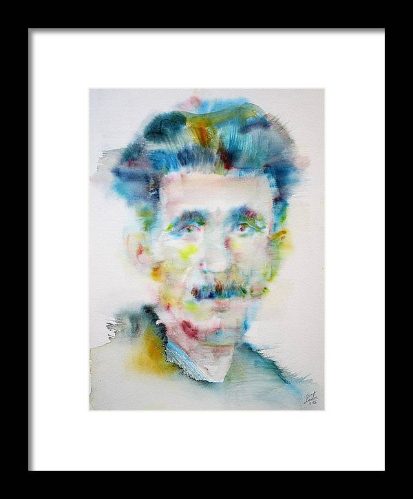 George Orwell Framed Print featuring the painting George Orwell - Watercolor Portrait by Fabrizio Cassetta