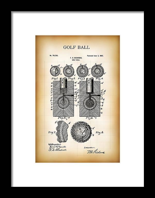Patent Framed Print featuring the digital art Golf Ball Patent 1902 by Daniel Hagerman