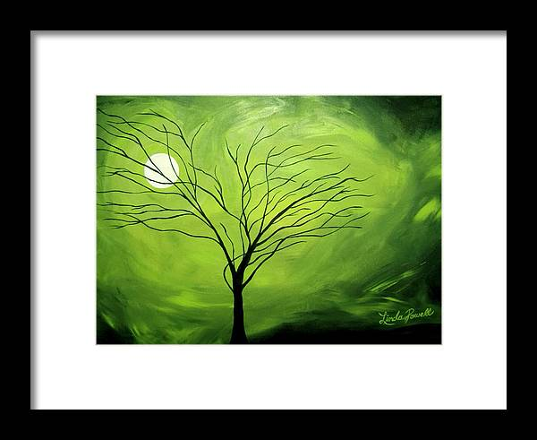Abstract Acrylic Landscape Green Tree Moon Movement Framed Print featuring the painting Green Night I by Linda Powell