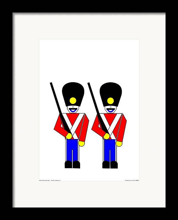 Framed Print featuring the digital art 2 Guardsmen by Asbjorn Lonvig