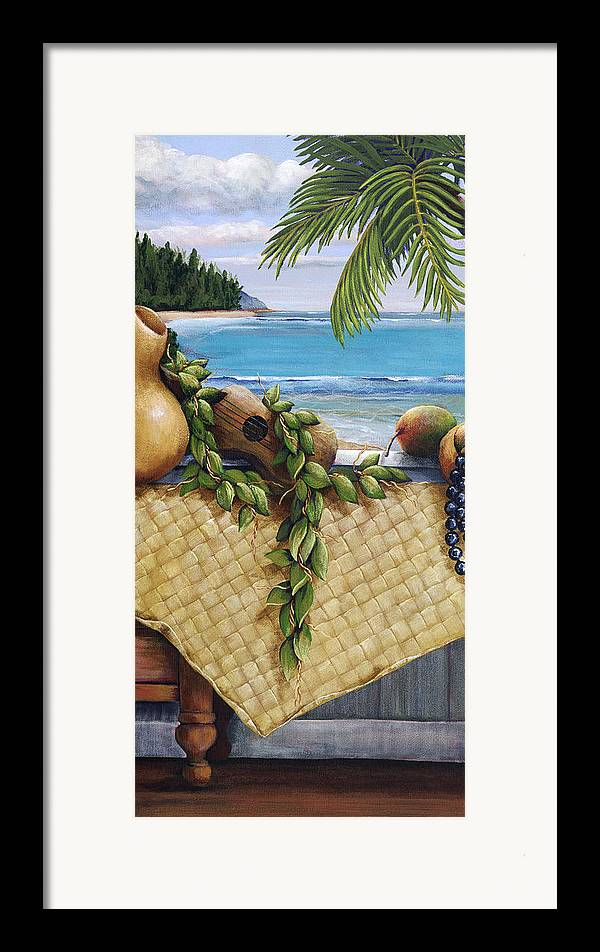 Acrylic Framed Print featuring the painting Hawaiian Still Life Panel by Sandra Blazel - Printscapes