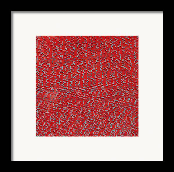 Abstract Red Pattern Turquoise Framed Print featuring the painting Heart And Soul by Joan De Bot