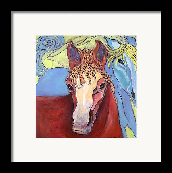 Horse Paintings Framed Print featuring the painting 2 Horses by Michelle Spiziri
