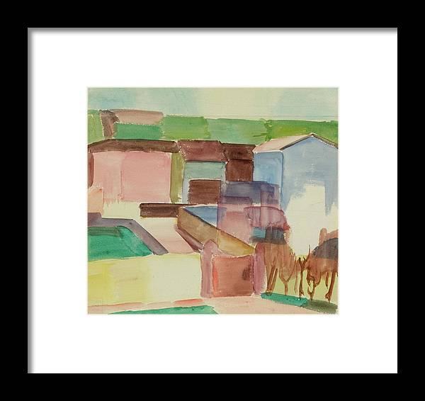 M�ller Framed Print featuring the painting Houses by Albert
