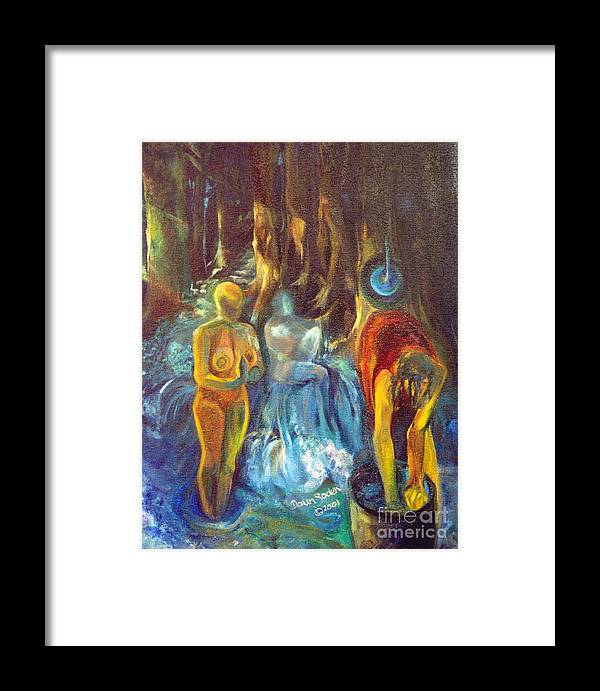 Oil Painting Framed Print featuring the painting In The Name Of The Mother Sister Daughter by Daun Soden-Greene