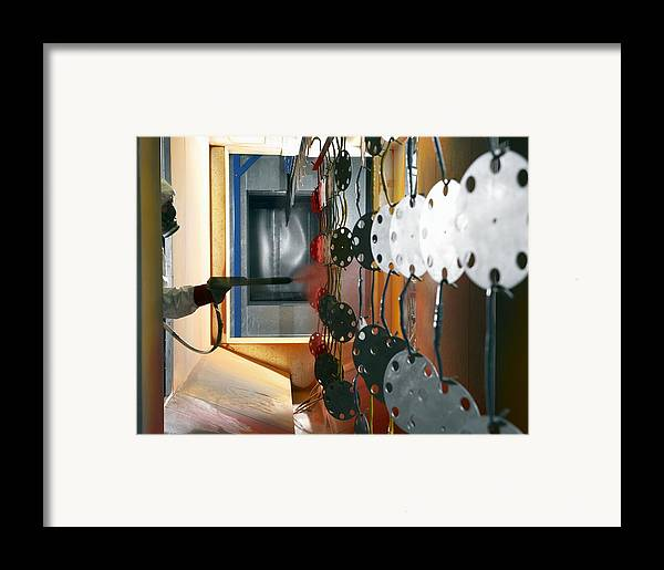 Anti-corrosive Framed Print featuring the photograph Industrial Powder Coating by Mark Sykes