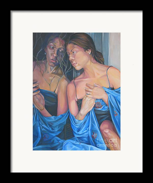 Portrait Framed Print featuring the painting Introspect by Julie Orsini Shakher