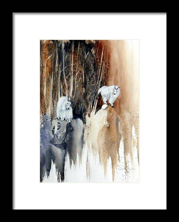 Mt. Goats Framed Print featuring the painting Its Not That Far by Lynne Parker
