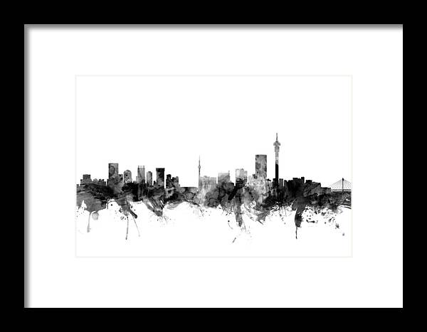 Johannesburg South Africa Skyline Framed Print by Michael Tompsett