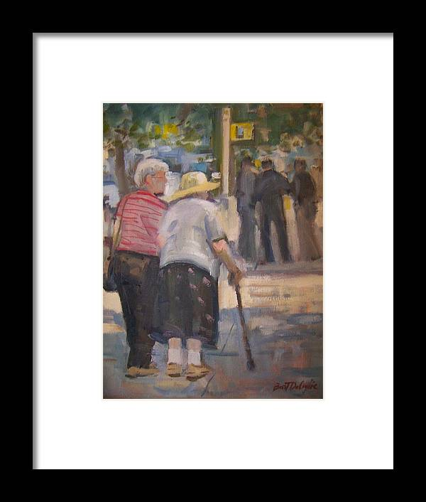 2 Ladies Walking In Ny. Framed Print featuring the painting 2 Ladies In Ny by Bart DeCeglie