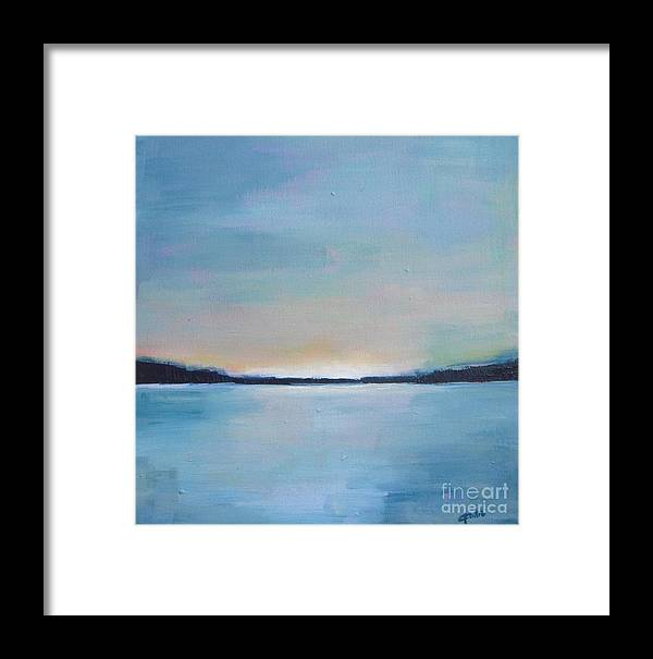 Seascape Framed Print featuring the painting Lake Sunset by Vesna Antic
