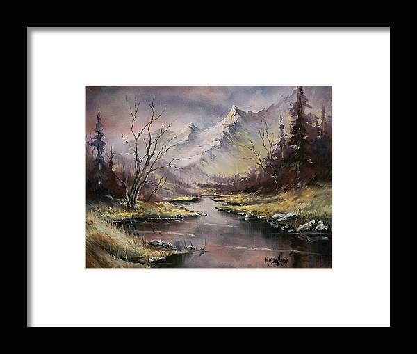Original Landscape Oil Painting Framed Print featuring the painting Landscape by Michael Lang