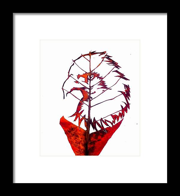 Leafcarving Framed Print featuring the painting Leafcarving by Deepan Sa