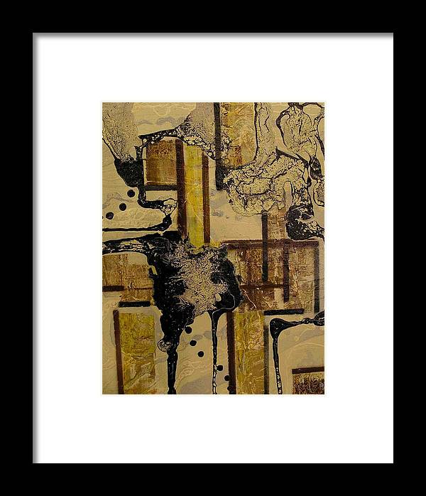 Abstract Framed Print featuring the painting 2 Level Painting by Evguenia Men