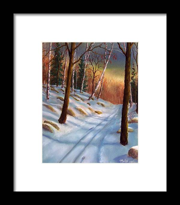 Winter Framed Print featuring the pastel Looking Back by Marcus Moller