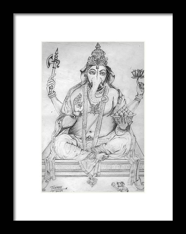 Ganesh Framed Print featuring the painting Lord Ganesha by Tanmay Singh