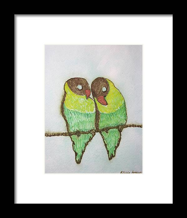 Birds Framed Print featuring the painting Love Birds by Patricia Arroyo