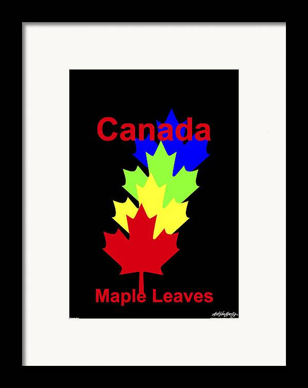Framed Print featuring the digital art Maple Leaves by Asbjorn Lonvig
