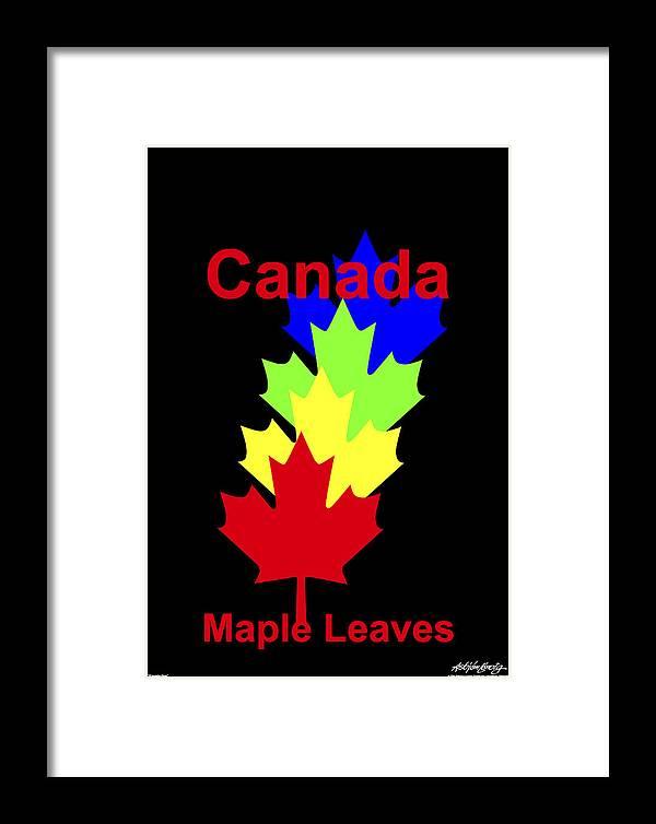 Framed Print featuring the digital art Maple Leaves by Asbjorn Lonvig