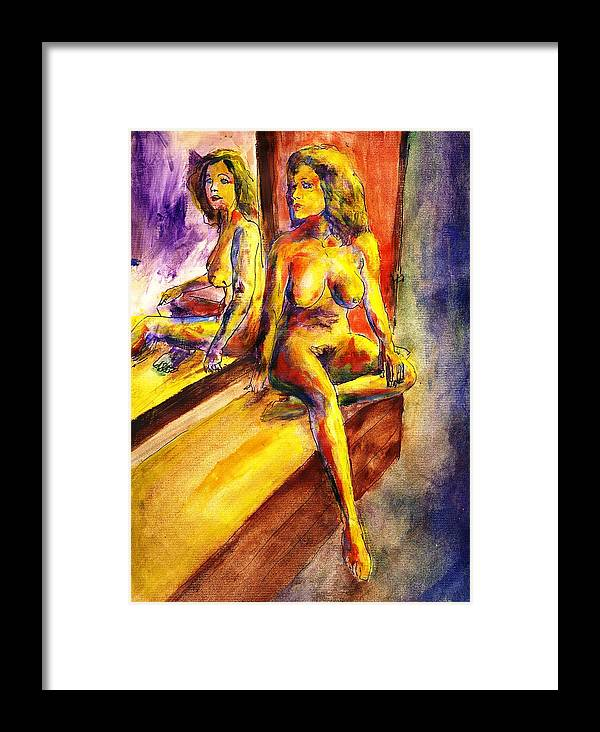 Framed Print featuring the painting Maria And Her Mirror by Randy Sprout